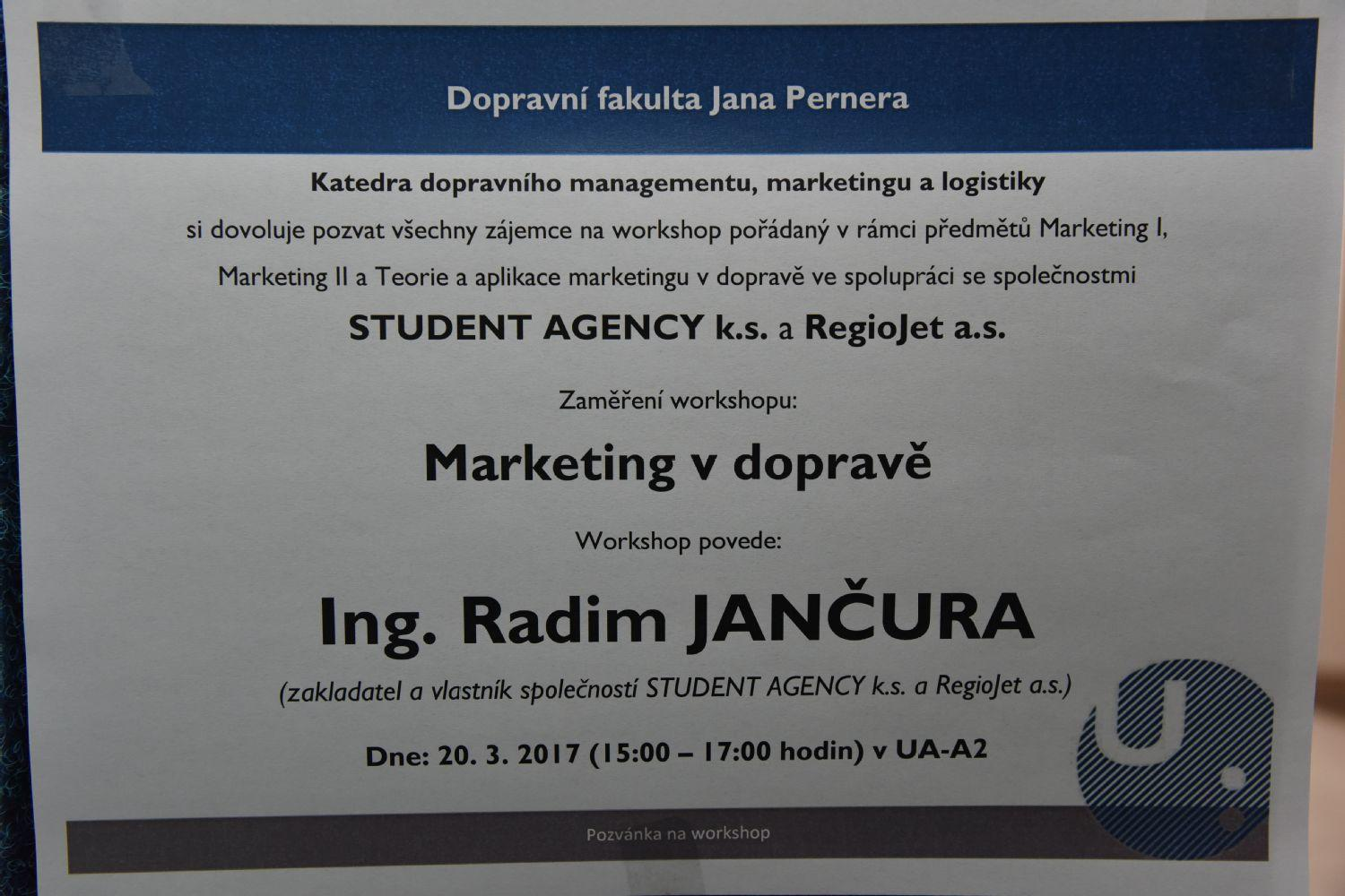 Marketing v dopravě - Ing. Radim Jančura - 20. 3. 2017
